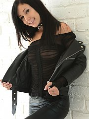 Catie Minx heading for the highway in her biker chick outfit