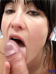 Horny cum hungry brunette Latina blows a dick and takes a thick facial