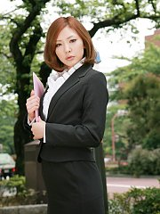 Japanese female tutor is seduced by father and son