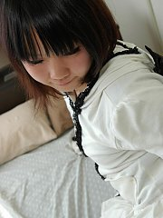 Teen Chihiro strips and spreads her tight and hairy pussy