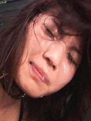 Jav Asian harlot with nude boobs gets cum on face from bonking