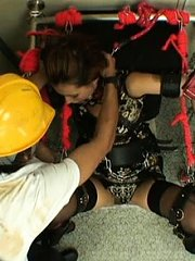 Jav Asian nymphet is tied in sadistic machine and gets water