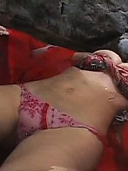 Sayaka Tashiro Asian busty in lingerie and dress lays in water