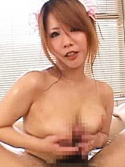 Jav Asian house keeper rubs man body with her big oiled boobs