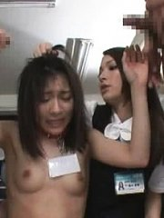 Jav Asian doll sucks dick and receives dildo from colleagues