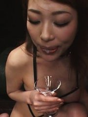 Jav Asian doll in strings rubs dicks with feet and sucks others