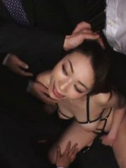 Jav Asian doll in strings is fondled and licked by masked men