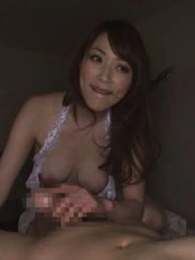 Jav Asian doll with naughty bazoom bas plays with dong over pants