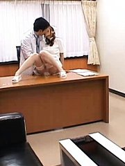 Jav Asian nurse has pussy rubbed by horny doctor on his office