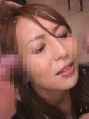 Jav Asian babe gets cum in mouth and on face from many shlongs