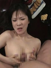Jav Asian doll has to suck stiffy of her guests next to husband