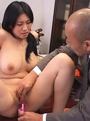 Jav Asian doctor lady has cans fondled and gets vibrator on clit