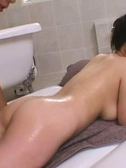 Jav Asian babe has her hot body fondled with oil by two fellows