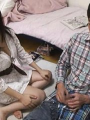 Jav Asian doll with big bust in white dress takes man pants off