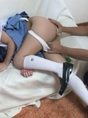 Jav Asian doll in uniform has slit rubbed from behind by hunk
