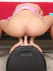 Lovely babe Abbey gets hot and horny as she takes a ride on the sybian