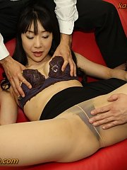 Horny Miho has to catch a man with her snapper pussy